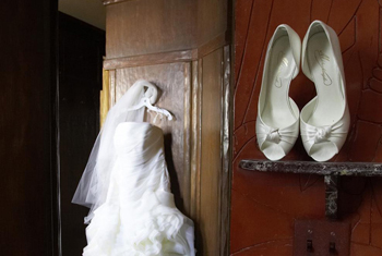Bride dress and shoes